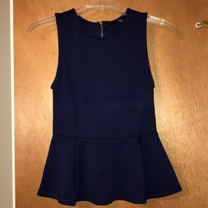 Forever 21 Navy Tank Top with Peplum